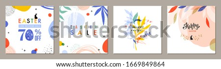 Trendy Easter square abstract templates. Suitable for social media posts, mobile apps, cards, invitations, banners design and web/internet ads. Vector illustration.  #1669849864