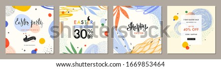 Trendy Easter square abstract templates. Suitable for social media posts, mobile apps, cards, invitations, banners design and web/internet ads. Vector illustration. #1669853464