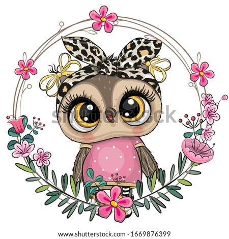 Cute Cartoon Owl with a floral wreath Royalty-Free Stock Photo #1669876399