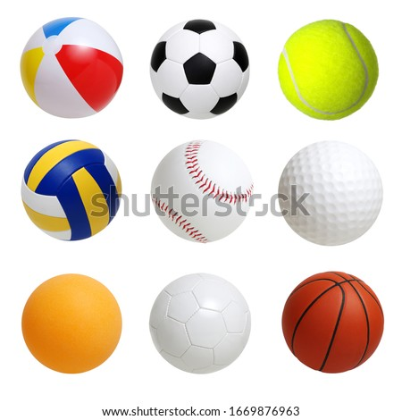 Collection of sport balls isolated on white background Royalty-Free Stock Photo #1669876963