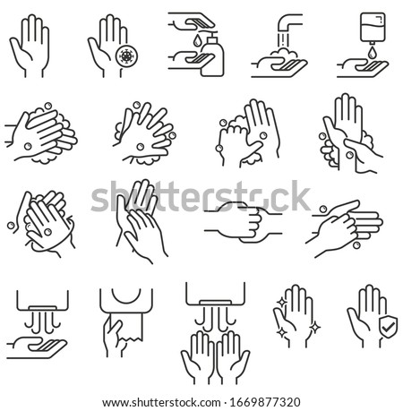 Hand washing steps icons vector illustrations. #1669877320