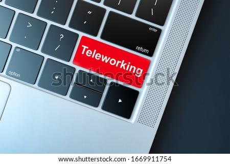 Keyboard with Red teleworking Button. Concept for any telework or telecommuting illustration, free lance workers, workers at home #1669911754