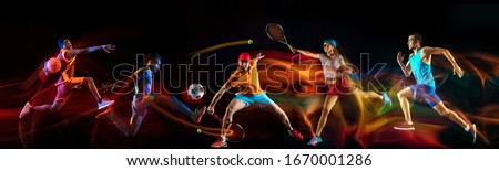 Creative collage of sportsmen in mixed and neon light on black background. Flyer for advertising or proposal. Motion, action, sport, reaching target concept. Tennis, soccer, basketball, badminton, run Royalty-Free Stock Photo #1670001286