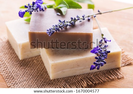 Homemade Soap with Lavender Flowers. Aromatic Natural Soap. Royalty-Free Stock Photo #1670004577
