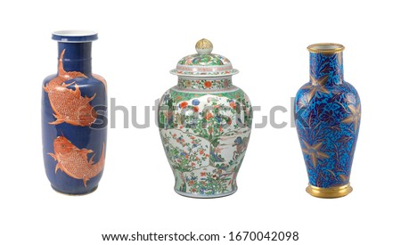 ceramics collage mix of beautiful vases isolated #1670042098