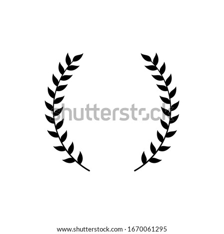Circle frame from black silhouette of two laurel branches in flat style, vector illustration isolated on white background. Icon or emblem of laureate or bay wreath as symbol of victory and triumph #1670061295
