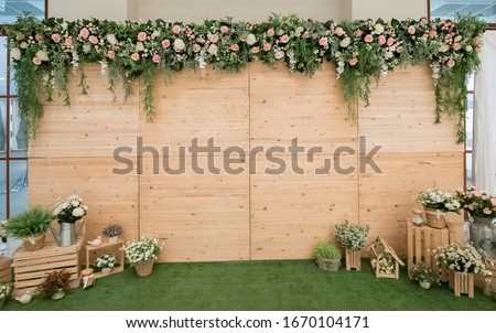 Beautiful wedding flower backdrop For taking pictures. Royalty-Free Stock Photo #1670104171