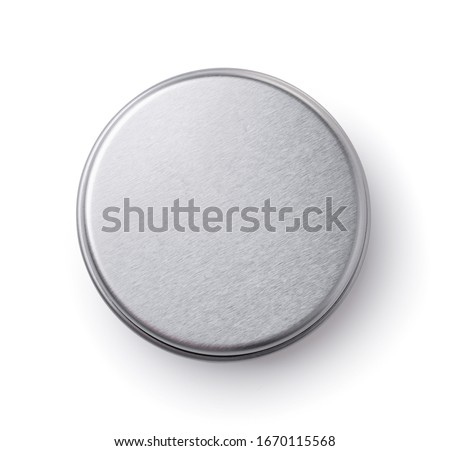 Top view of metal round container isolated on white Royalty-Free Stock Photo #1670115568