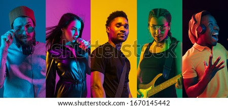 Collage of portraits of young emotional talented musicians on multicolored background in neon light. Concept of human emotions, facial expression, sales. Playing guitar, singing, dancing. #1670145442