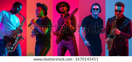 Collage of portraits of young emotional talented musicians on multicolored background in neon light. Concept of human emotions, facial expression, sales. Playing guitar, saxophone, singing, dancing. Royalty-Free Stock Photo #1670145451