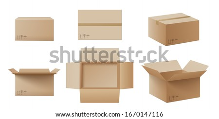 Realistic cardboard box mockup set from side, front and top view open and closed isolated on white background. Parcel packaging template - vector illustration. Royalty-Free Stock Photo #1670147116