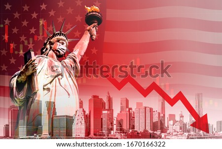 Concept of economic recession during the coronavirus outbreak in United States, downtrend stock with red arrow and The Statue of Liberty with mask background Royalty-Free Stock Photo #1670166322