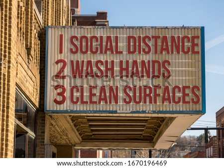 Mockup of movie cinema billboard with three basic rules to avoid the coronavirus or Covid-19 epidemic of wash hands, maintain social distance and clean surfaces #1670196469