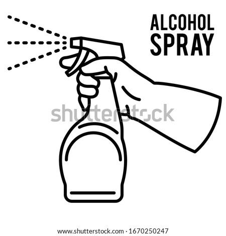 Spraying Anti-Bacterial Sanitizer Spray, Hand Sanitizer Dispenser, infection control concept. Sanitizer to prevent colds, virus, Coronavirus, flu. Spray bottle. Alcohol spray. Flat icon design. #1670250247