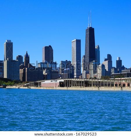 Chicago skyline. View from Michigan Lake.