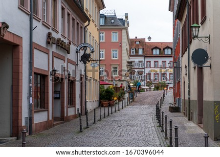 Heidelberg Old Town and pedestrian zone shortly before sunset on 11.03.2020 #1670396044