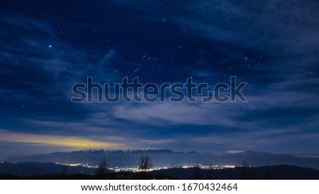Starry sky and night view from the mountain in the Southern Alps Royalty-Free Stock Photo #1670432464