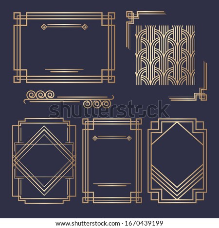 Art Deco vintage invitation template design. patterns and frames. Retro party geometric background set (1920's style). Vector illustration for glamour event, thematic wedding or jazz party. #1670439199