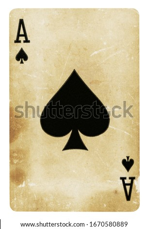 Ace of Spades Vintage playing card isolated on white (clipping path included) Royalty-Free Stock Photo #1670580889