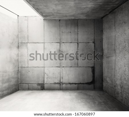 Empty warehouse room with concrete walls and floor. #167060897