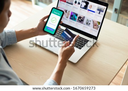 using smartphone and credit card online shopping #1670659273