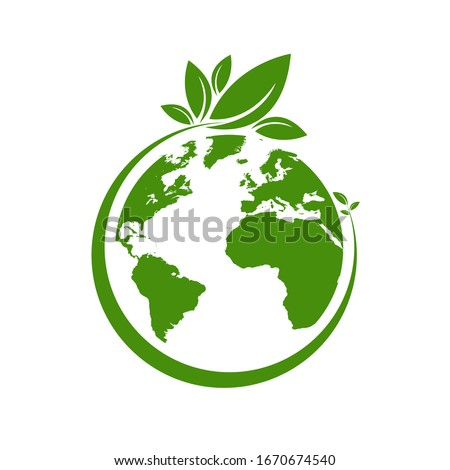 Ecology world symbol, icon. Eco friendly concept for company Royalty-Free Stock Photo #1670674540
