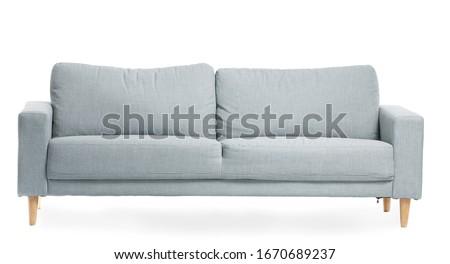 Modern sofa on white background Royalty-Free Stock Photo #1670689237