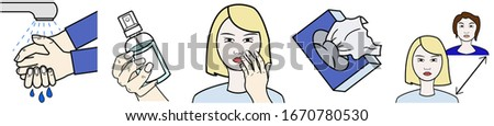 Set with hygiene tips to prevention of coronavirus deseases or droplet infection illnesses #1670780530