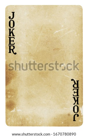 Joker Vintage playing card - isolated on white (clipping path included)