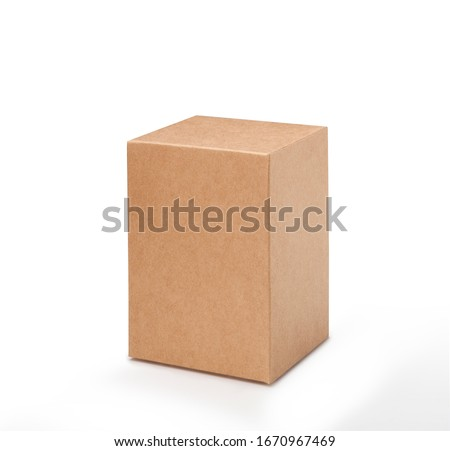 Brown paper box on white background. Suitable for food, cosmetic or medical packaging. Blank cardboard mockup photo. #1670967469