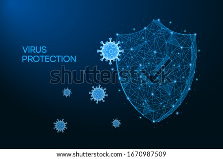 Security shield for virus protection. Coronavirus, 2019-nCoV safety concept made by low polygonal wireframe mesh on blue background. Shield and virus cells. Vaccine, medicine, antibiotic. Vector. #1670987509