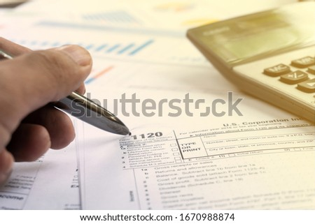 United state 1120 form individual tax return with paper #1670988874