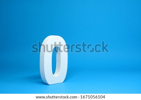 None or Zero ( 0 ) white wooden  Isolated Blue Background with Copy Space - New promotion 0% Percentage  Business finance Concept #1671056104