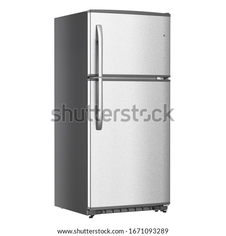 Top Mount Refrigerator Isolated on White Background. Modern Stainless Steel Fridge Freezer. Electric Kitchen and Domestic Major Appliances. Front View of Two Door Top-Freezer Fridge Freezer #1671093289