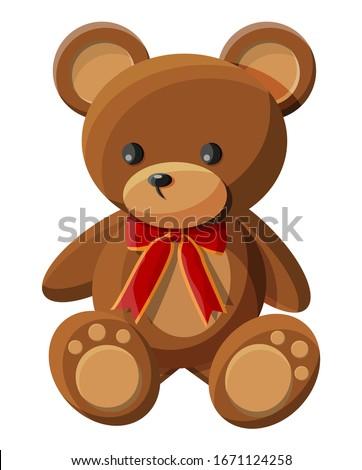 Teddy bear with bow. Bear plush toy. Teddybear icon. illustration in flat style