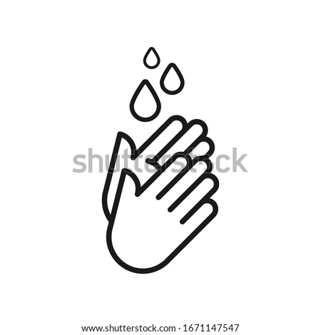 Hand washing icon. Hands with water drops symbol. Outline symbol. Prevention against viruses, bacteria, flu, coronavirus. Concept of hygiene, cleanliness, disinfection.Vector illustration, flat design #1671147547