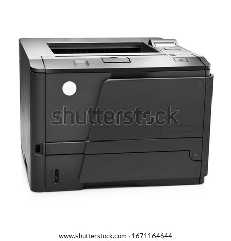 Inkjet Multifunction Laser Printer Isolated on White. Front View of LaserJet. Black Home Colour Document and Photo Jet Printer with Copier, Fax & Scanner. Office Printing Appliances. Peripheral Device