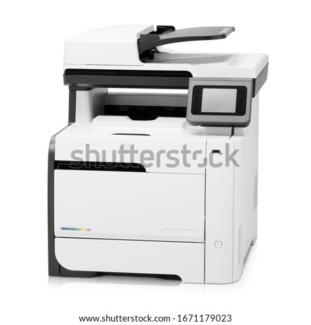 Laser Printer Isolated on White. Peripheral Device. Front View of Inkjet Multifunction  LaserJet. White Home Colour Document and Photo Jet Printer with Copier Fax & Scanner. Office Printing Appliances