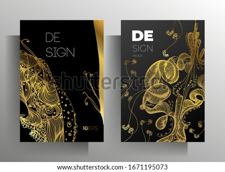 Cover design for book, magazine, brochure catalog template set. Hand-drawn graphic elements black with gold. Vector 10 EPS. #1671195073