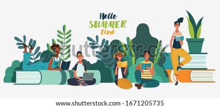 Young people reading books in the  park. Summer landscape background. Holidays time.  Back to school, Study, Learning, Knowledge and Education vector concept Royalty-Free Stock Photo #1671205735
