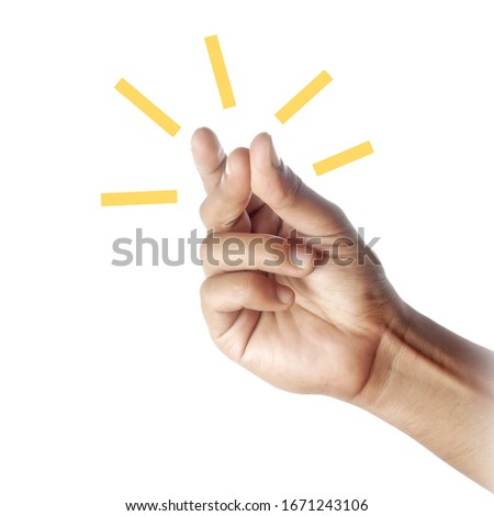 close up of man's hand snapping his fingers