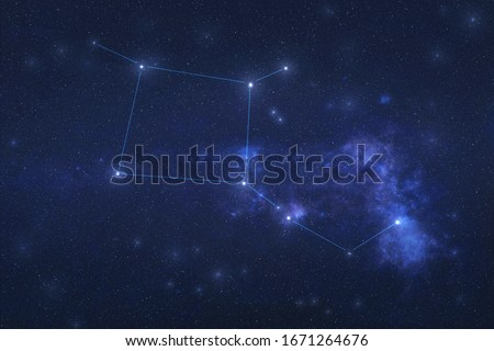 Pegasus Constellation in outer space. Pegas constellation stars with constellation lines.. Elements of this image were furnished by NASA Royalty-Free Stock Photo #1671264676