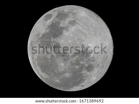Full moon stack dark night sky. The full moon is lunar phase when It appears fully illuminated from Earth's perspective. It occurs when Earth is located between Sun and Moon appears as a circular disk #1671389692