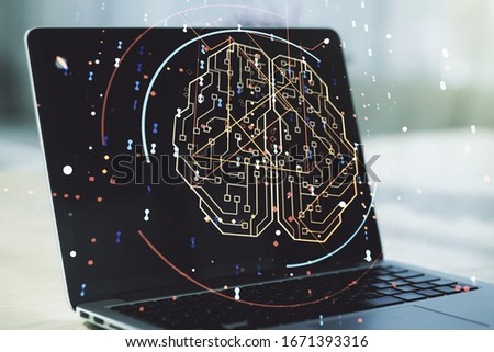 Double exposure of creative artificial Intelligence symbol with modern laptop on background. Neural networks and machine learning concept #1671393316