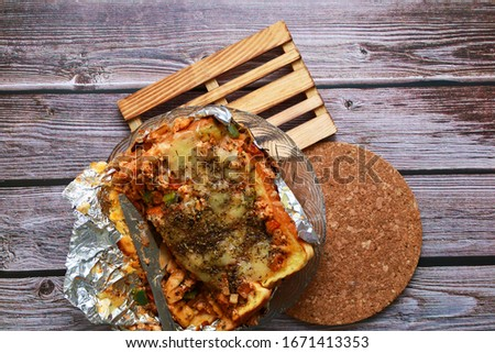 spicy food concept picture. bread lasagna.