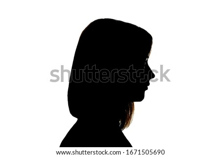 Black silhouette of a female profile isolated on white background, anonymity concept. #1671505690