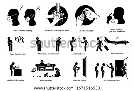 Virus outbreak risks, prevention, preparedness tips actions to do and do not. Illustrations of person wearing mask correct and incorrectly. Washing hand with soap, water and sanitizer. Avoidance plan. #1671516550