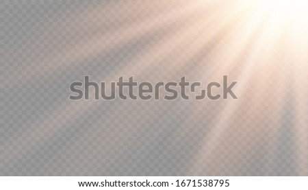 Vector transparent sunlight special lens flash light effect.front sun lens flash. Vector blur in the light of radiance. Element of decor. Horizontal stellar rays and searchlight.  #1671538795