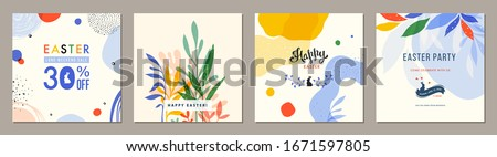 Trendy Easter square abstract templates. Suitable for social media posts, mobile apps, cards, invitations, banners design and web/internet ads. Vector illustration. #1671597805