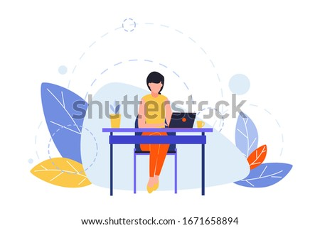 Hobby, creative profession, writing, freelance concept. Illustration of businesswoman, girl writer or freelancer at table with laptop. Art image of different people creative occupation. Flat vector